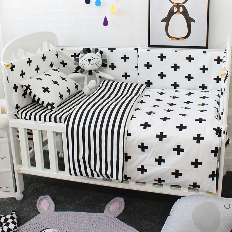 <font><b>Baby</b></font> Cot <font><b>Bedding</b></font> <font><b>Set</b></font> Soft Breathable Cotton Bed Linen For Children Including Quilt Pillow Bumper Flat Sheet Cradle Kit For Kids image