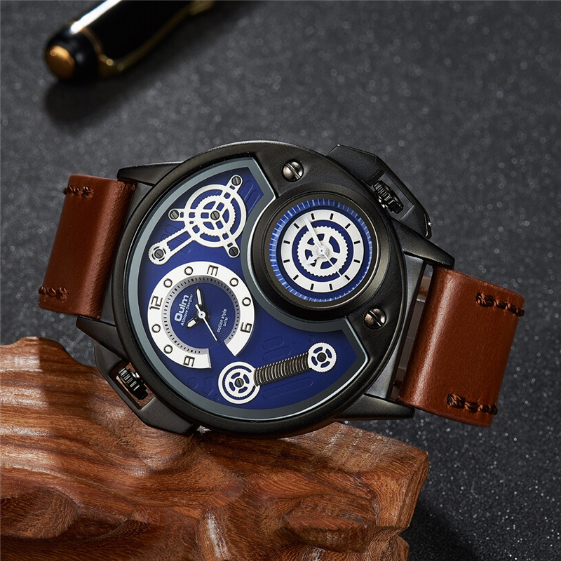Oulm Fashion Design Men Quartz Analog Watch Male Genuine Leather Strap Dual Time Zone Sports Wristwatch Luxury Male Quartz Clock oulm new arrive double time zone sports watches men luxury brand pu leather big wristwatch male quartz watch relojes hombre
