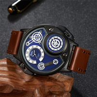 Oulm Fashion Design Men Quartz Analog Watch Male Genuine Leather Strap Dual Time Zone Sports Wristwatch Luxury Male Quartz Clock