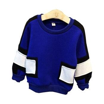 2016 الأطفال بلوزات جديد أزياء الشتاء الطفل الفتيان طويلة الأكمام خياطة سميكة البلوز أعلى الاطفال ملابس قطنية 2-7Years