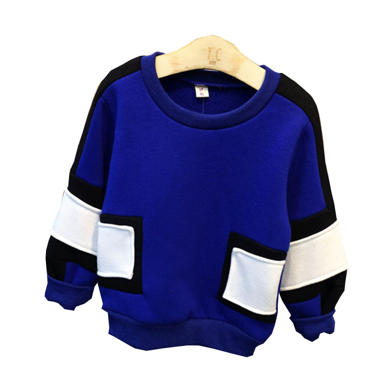 2016 Childrens Sweatshirts New Fashion Winter Baby Boys Long Sleeve Stitching Thick Pullover Top Kids Cotton Clothes 2-7Years