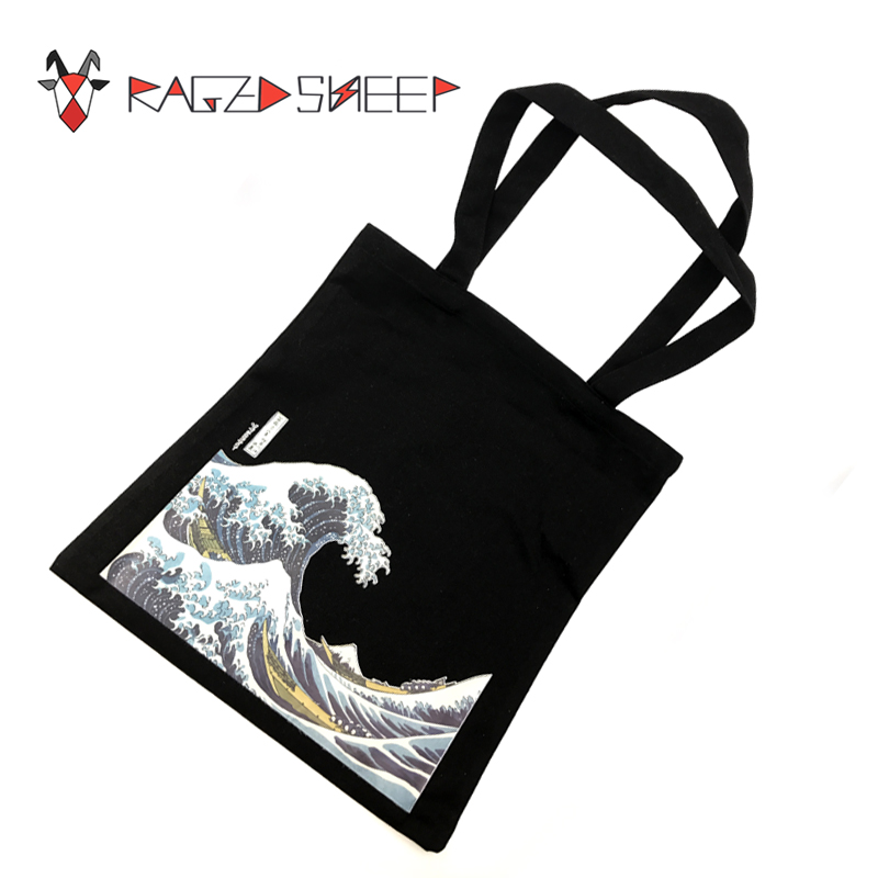 Raged Sheep Fashion Cotton Grocery Tote Shopping Bags Folding Shopping Cart Eco Grab Reusable Bag With Sea Wave Print unique customize tote bag eco linen bags with audrey hepburn print reusable shopping bags fashion handbag totes for women