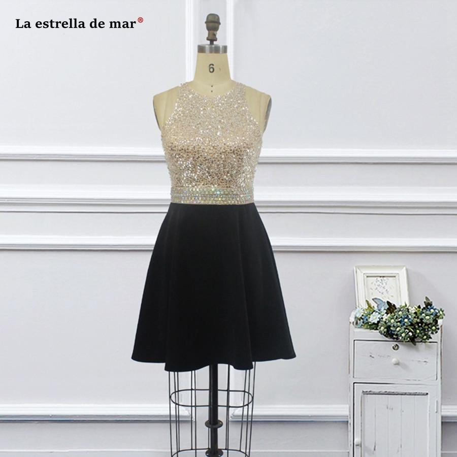 Vestidos Coctel Mujer 2019 Chiffon Crystal Halter Back Open A Line Black Burgundy White Cocktail Dress Knee Length Pretty