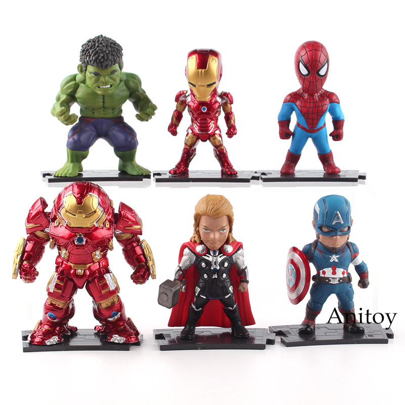 Marvel DC COMICS Super Heroes Iron Man Hulk Captain America Spiderman Thor PVC Action Figure Toys 6pcs/set 10cm 8-9.5cm KT4796 sy687 super heroes captain america iron man thor hulk spiderman superman set building blocks bricks action children gift toys