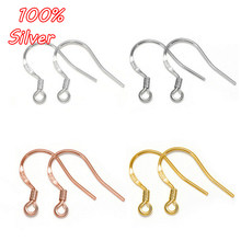 2pair 925 Sterling Silver Flat Word Ear Hook Accessories Ladies Earrings Plated Gold DIY Sterling Silver Accessories Wholesale(China)