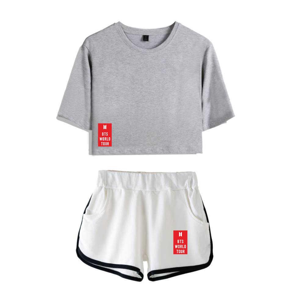 7a573bba4 ... Frdun Tommy BTS Love Yourself Hot Sale Kpop Top Women Summer Shorts And  T-shirt ...