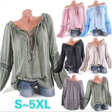 Large size womens blouse 2019 word collar solid color lace stitching loose large shirt S-5XL