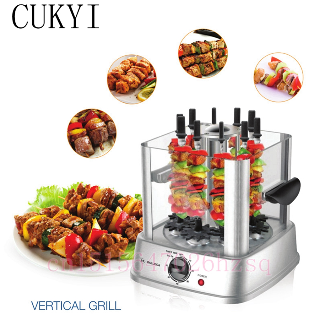 CUKYI Electric BBQ grill smokeless automatic rotary Rotisseries for barbecue string meat and vegetable 800W sc 05 burner infrared barbecue somkeless barbecue grill bbq gas infrared girll machine stainless steel smokeless barbecue pits