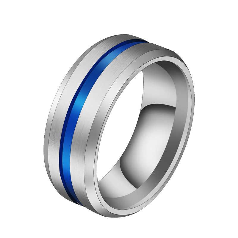 Venda quente groove anéis preto azul 2019 nova moda punk anéis de aço inoxidável para homens charme masculino jóias dropshipping presente festa