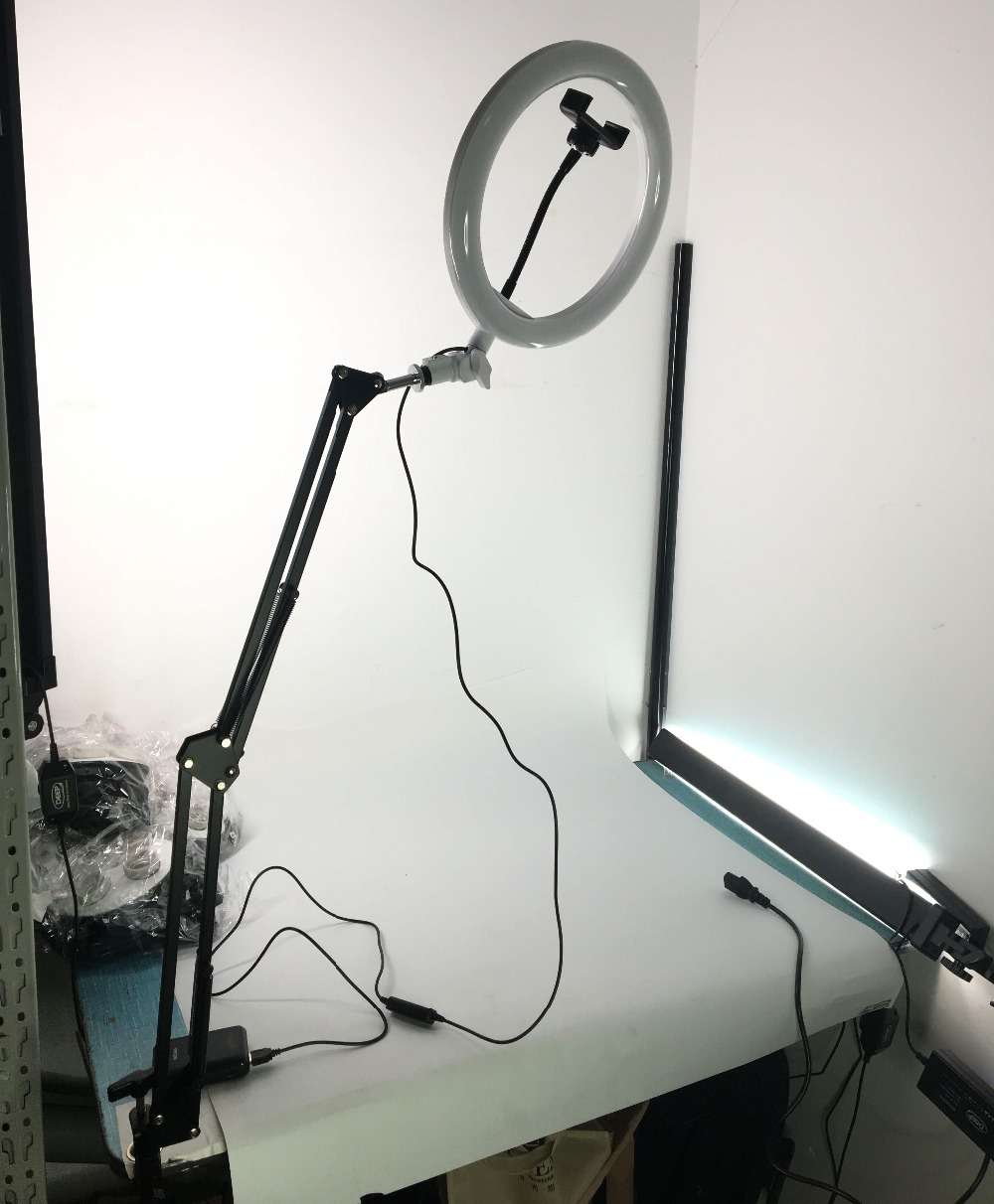 """Image 5 - Photo Studio 10"""" 200pcs LED 2Color3200K 5600K Dimmable Photography Phone Video LED Ring Light Lamp With Tripod Stand For Camera-in Photographic Lighting from Consumer Electronics"""