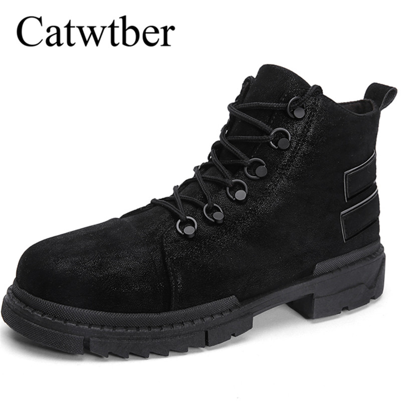 872b2ad660b9 Catwtber Fashion Men Boots High Quality Leather Ankle Snow Boots ...
