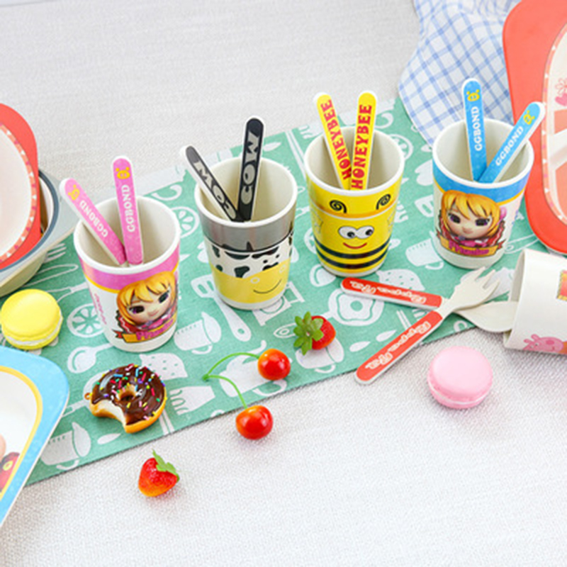 Baby Food Container Infant Food 1 Set Baby Cartoon Dinnerware Cute Animals Spoon Knife Fork For Child