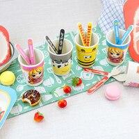 1 Set Baby Cartoon Dinnerware Cute Animals Spoon Knife Fork For Child