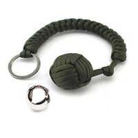 Outdoor Security Protection Black Monkey Fist Steel Ball For Girl Bearing Self Defense Lanyard Survival Key Chain Broken Windows