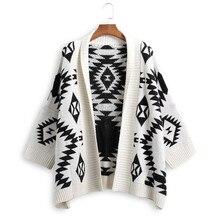 Вязаное пальто, свободный большой отворот, геометрические узоры, вязаный кардиган, v-образный вырез, рукав летучая мышь, свитер, высокая талия, открытый шов, топы
