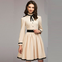 DERUILADY 2018 Women S Early Spring New Dress Elegant Bow Knee Length Dresses A Line Long
