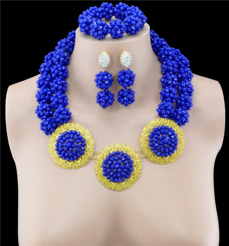 Mode haute qualité mariage nigérian perles africaines ensembles de bijoux cristal bleu Dubai couleur or grands ensembles de bijoux Costume