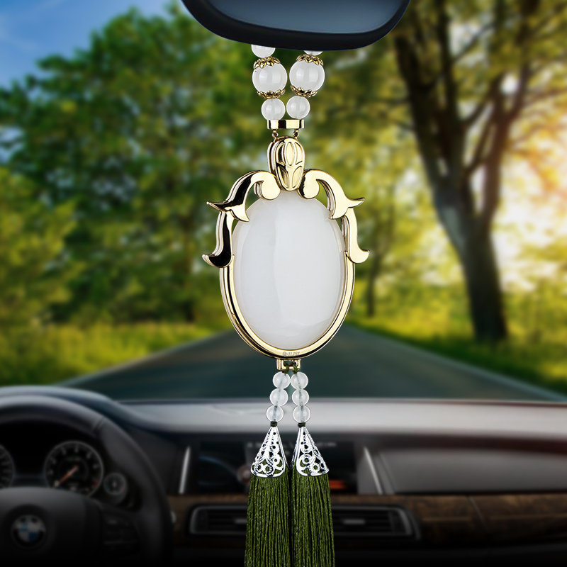 luxury genuine jade car ornaments for the mirror hanging decorative pendant auto interior. Black Bedroom Furniture Sets. Home Design Ideas