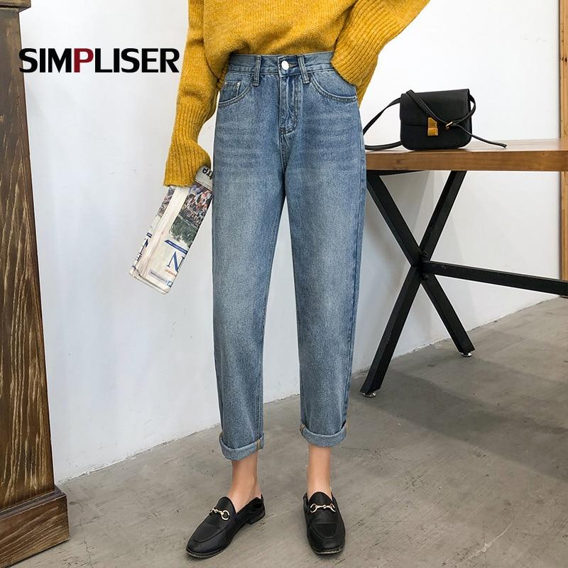 Denim Blue Jeans Women Pants Ankle Length Harem Pants Femme High Street Retro Jeans 2019 Spring New High Waist Trousers Capri
