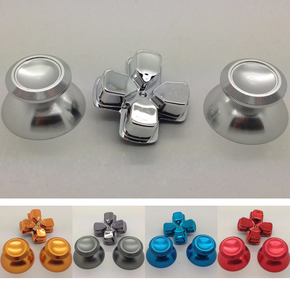 Custom Metal Thumb Sticks Analogue Thumb Grips with Chrome D-pad for Sony  Playstation 4 PS4 Controllers