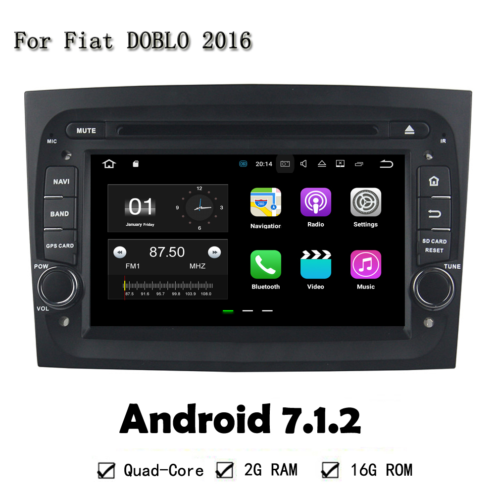 Android 7.1.2 RAM 2G Car DVD Player GPS Navi Head Unit For FIAT DOBLO 2016 With Quad Core WIFI Radio RDS Support OBD DVR BT