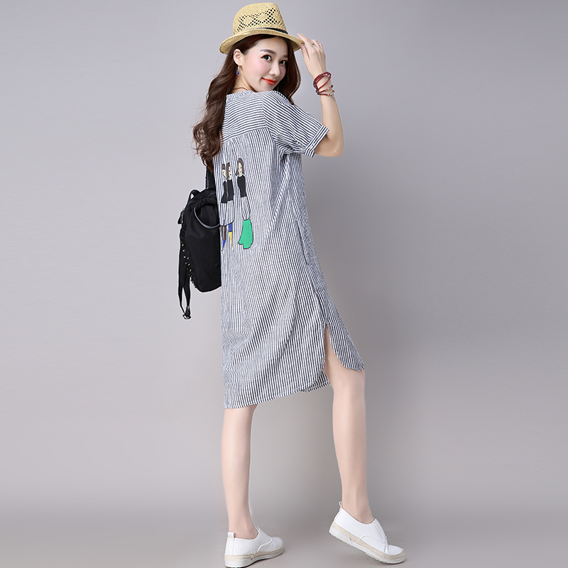 0118 Summer Dress Ladies Casual Striped Split Short Sleeve O Neck Cotton And Linen Straight Long Dresses Woman With Pockets in Dresses from Women 39 s Clothing