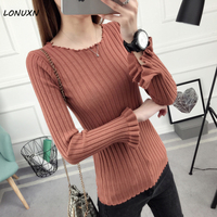 High quality spring and autumn Short pullover Solid color Slim Korean version Round neck long sleeve lotus leaf sleeve sweater