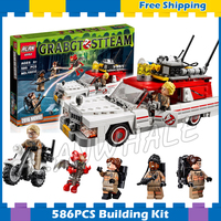 586pcs Ghostbusters Ecto 1 & 2 Movie Police cars 16032 Model Building Blocks Assemble Bricks Children Sets Compatible With Lego