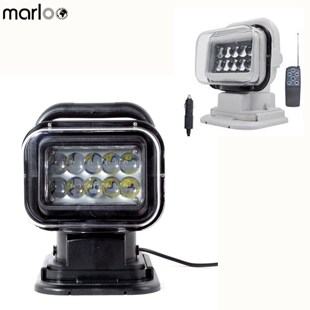 Marloo LED Marine Remote Control Spotlight Offroad Truck Car Boat Search Light 50W 360 Degree For Cars Auto Led Searching Light 1pc 7 inch remote control switch searching light car spot light 50w led search light 12v for boat auto hunting working lamp