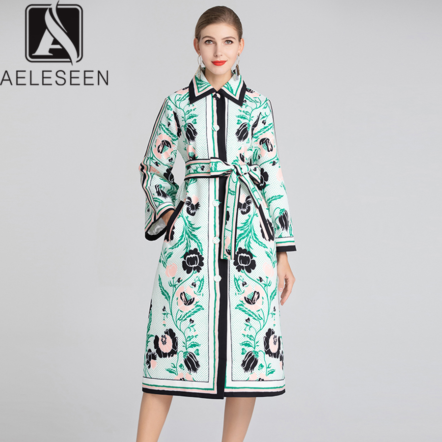 AELESEEN Elegant Dresses 2019 UK style Runway Women s Long Sleeve Flower Dot Print Split Knee