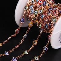 6mm Colourful Eye Lampwork Beaded Rose Gold Chain,Mixed Glass Flat Coin Rosary Style Chain,Multicolor Bracelet Earrings Crafts