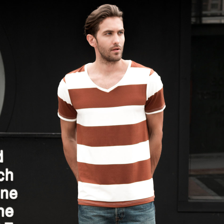 4006af51ddd Zecmos Men Stripe V Neck T-Shirt Fashion Striped T Shirt Male V-Neck