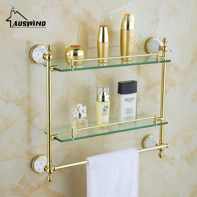 Wall Mounted Bathroom Accessories Solid Brass Golden Finish With ...