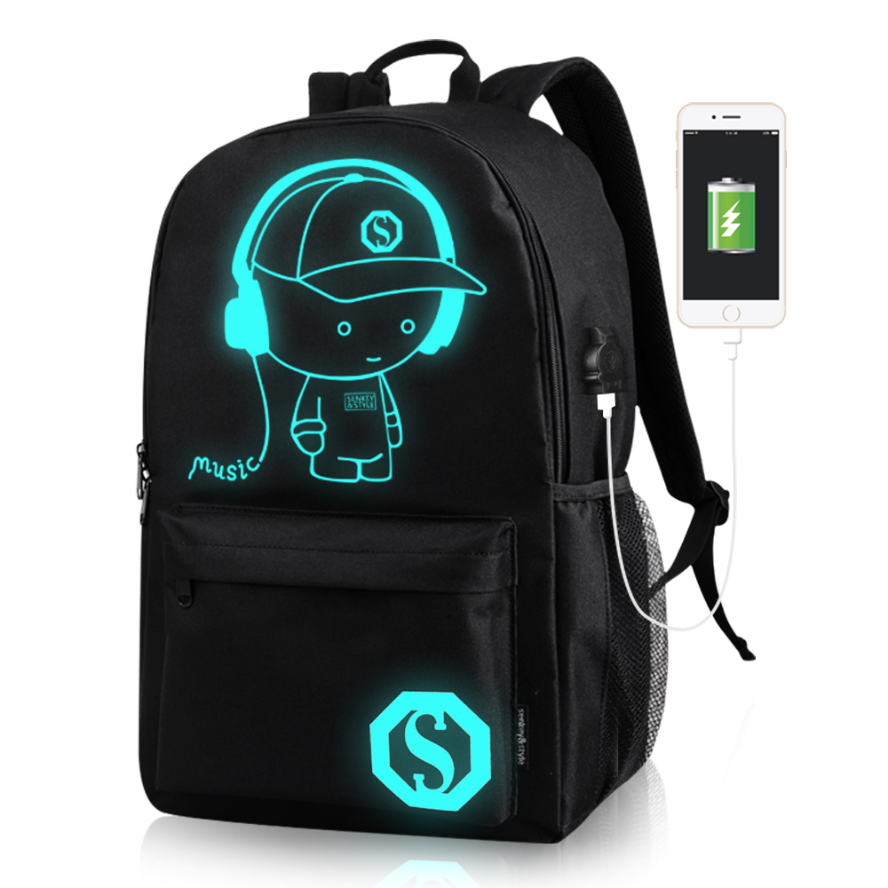 Fashion Student School Backpack Travel Anime Luminous USB Charge Laptop Computer Backpack For Teenager Boys Girls School Bag