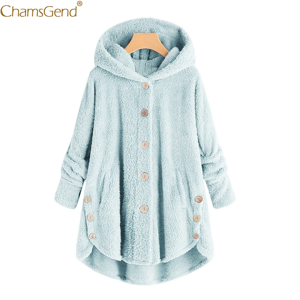Fashion 2018 Hot Women Button Coat Long Sleeve Hooded Coat Jacket Casual  Female Loose Outwear Fluffy Tail Tops Dec12