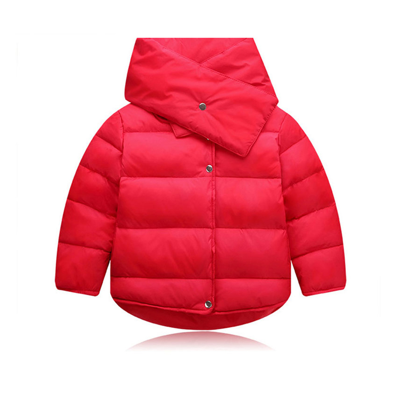 2PCS Winter Soft Thick Baby Boy Girl Coat Warm White Duck Down Scarf + Down Jackets Long Sleeve Solid Casual Kids Outerwear