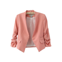 Womens Cute Candy Color Short Blazers V Neck Puff Sleeve No Button