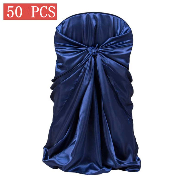 50pcs decor satin chair cover for wedding banquet hotel self tie