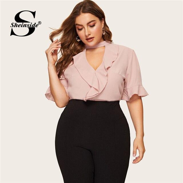Sheinside Plus Size Pink Flounce Sleeve Ruffle Blouse Elegant Top Female Summer Tops for Women 2019 Keyhole Neckline Blouses