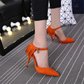 Yards:33-40 Fashion Sandals shallow mouth pointed toe thin heels velvet tassel women's high-heeled single shoes wedding pumps