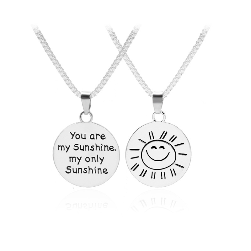 Fashion <font><b>Jewelry</b></font> You Are My Sunshine My Only Sunshine Double Side Disc Letter Engraved <font><b>Sun</b></font> Smile Face Pendant Necklace Loves Gift image