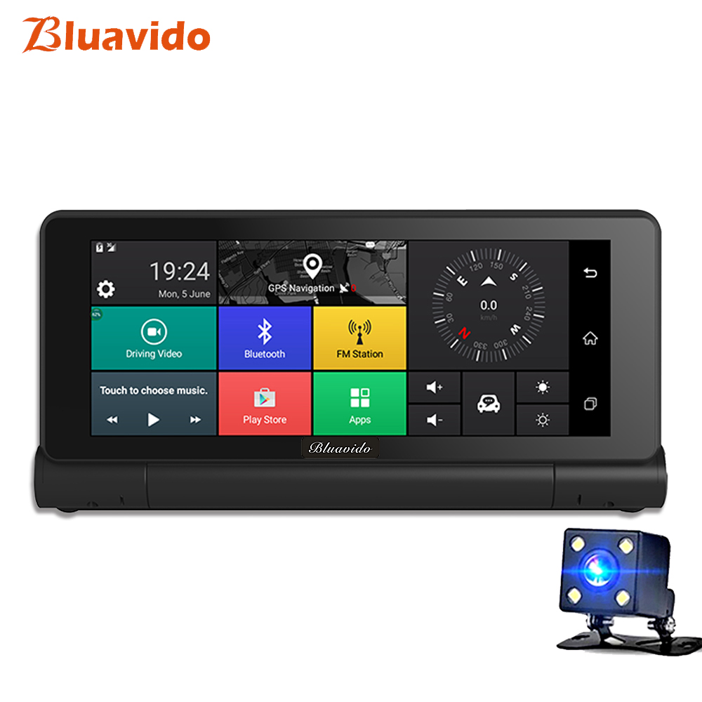 Bluavido 6.86 4G Car DVR Camera Android GPS Navigation Full HD 1080P Video Recorder ADAS Dash cam Bluetooth WIFI Car detector bigbigroad for nissan qashqai car wifi dvr driving video recorder novatek 96655 car black box g sensor dash cam night vision