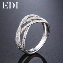 EDI Pave 14K 585 White Gold Bands Natural Real Diamond 0 48cttw Wedding Engagement Ring For Women Fine Jewelry cheap Rings Round Shape GZR0299 Good Prong Setting Trendy GDTC Number Wedding Bands