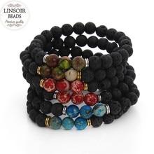 2017 New Natural Stone Black Lava Beads Bracelets For Women Men Imperial Stretch Yoga Bracelet Men Jewelry Bracciali Uomo F3232