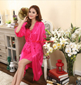 Free Shipping Summer viscose sleepwear short-sleeve twinset lounge female sexy lace suspender dress robe bathrobes