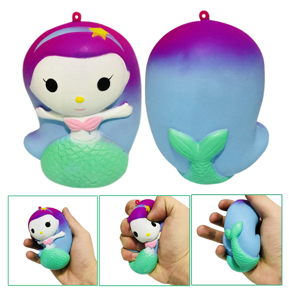 Cute Cartoon Squeeze Squishy Kawaii Decor Toys Stress Reliever Slow Rising Fun Toys For Adults Anti Stress Mermaid Cat MA13f