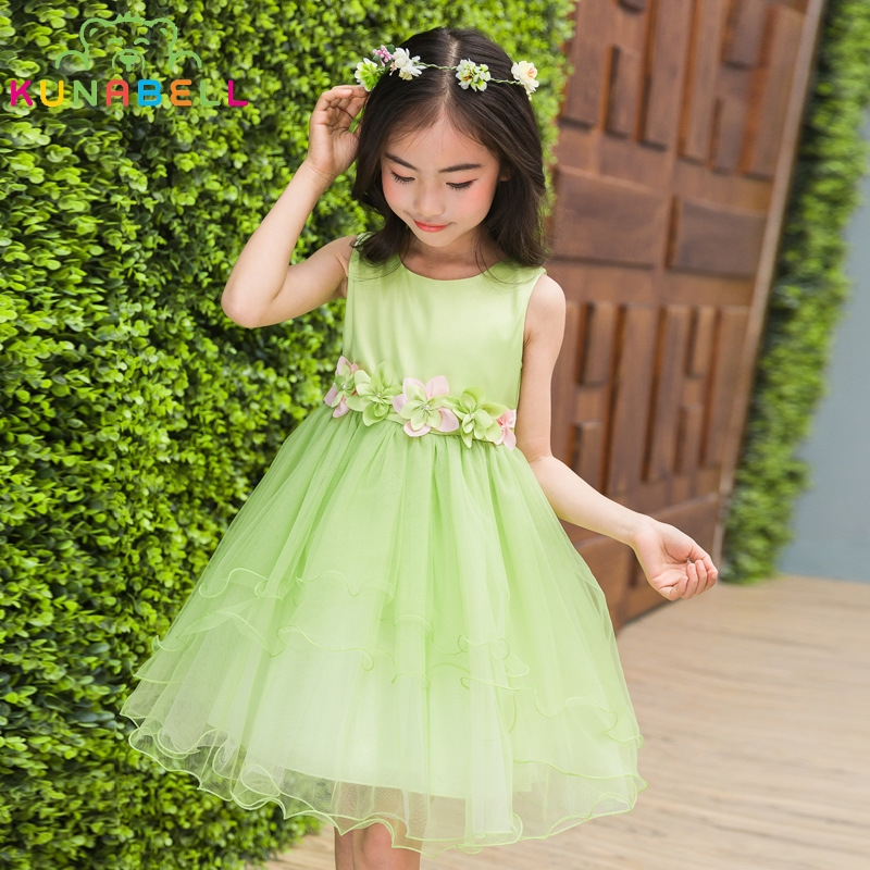 New Children Princess Party Dress For Girls Sundress Sleeveless Tulle Wedding Dresses Summer Dance Performance Girls Dress H033