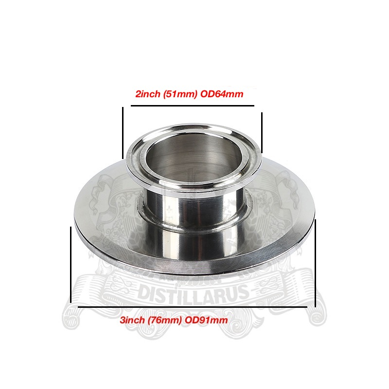 Short Tri- Clamp Reducer 2(51mm)OD64 x 3 (76mm)OD91 . SS 304 Stainless Steel 2 51mm od64 500mm tri clamp pipe sanitary stainless steel 304 and 3 0m stainless steel mesh stainless steel packing