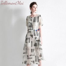 Short Sleeve Midi Dress 2019 Summer Print Dresses Women Casual Elegant Office Lady A-line Cotton Linen Loose Dress Vestidos S-XL long sleeved dress women 2019 spring summer new simple stripes turn down collar slim a line casual elegant dress midi s xl