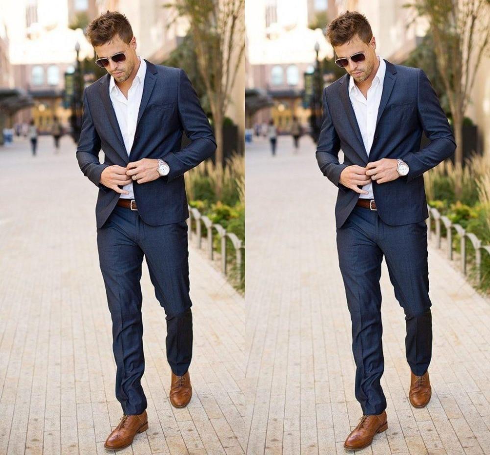 2016 Best Design Men Tuxedos Groomsmen Slim Fit Dark Navy Linen ...